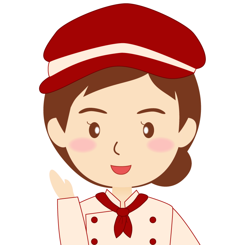 画像:飲食店の赤色の制服姿の女性イラスト 笑顔