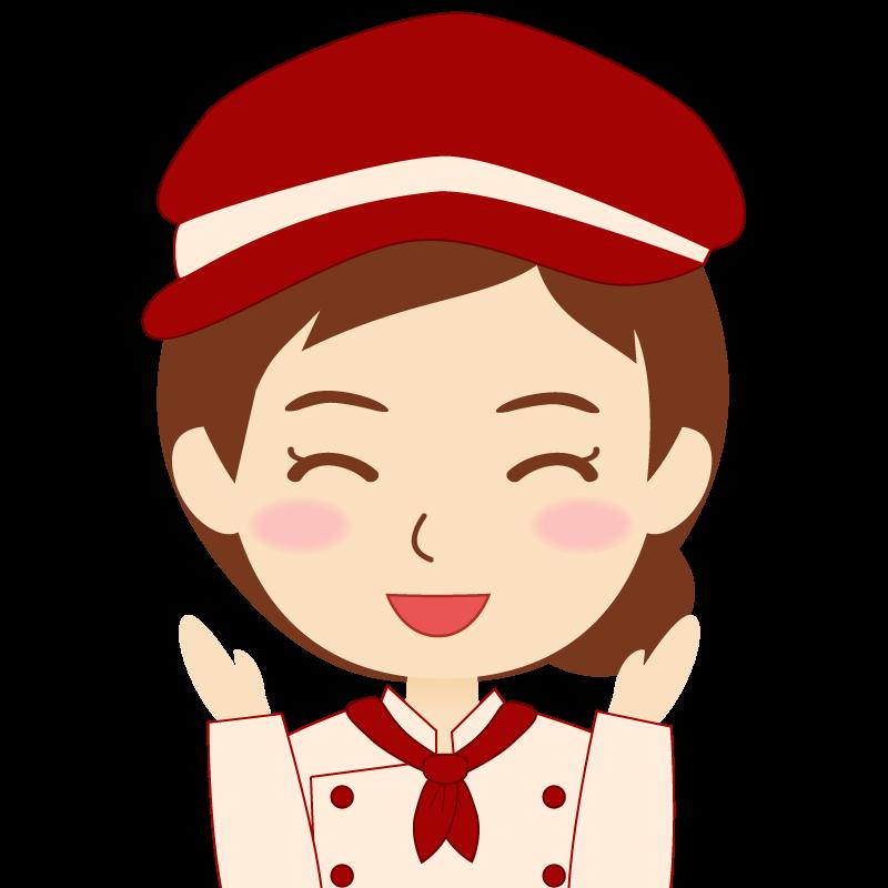 画像:飲食店の赤色の制服姿の女性イラスト 喜び