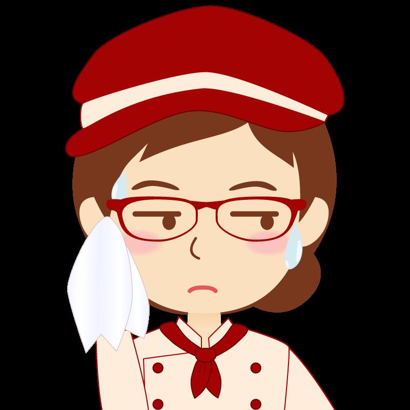 画像:飲食店の赤色の制服姿の女性イラスト 眼鏡 汗