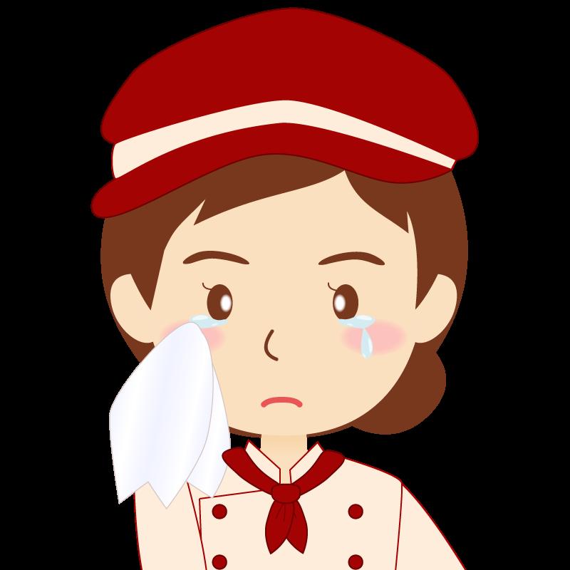 画像:飲食店の赤色の制服姿の女性イラスト 涙