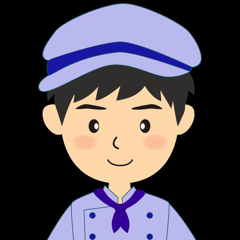 画像:飲食店の青い制服姿の男性イラスト