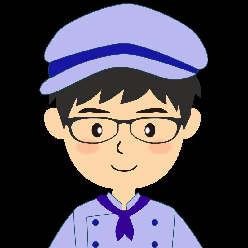 画像:飲食店の青い制服姿の男性イラスト 眼鏡