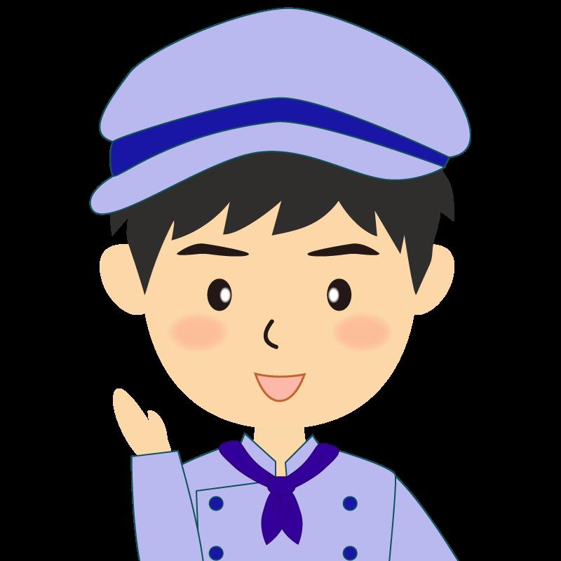 画像:飲食店の青い制服姿の男性イラスト 笑顔