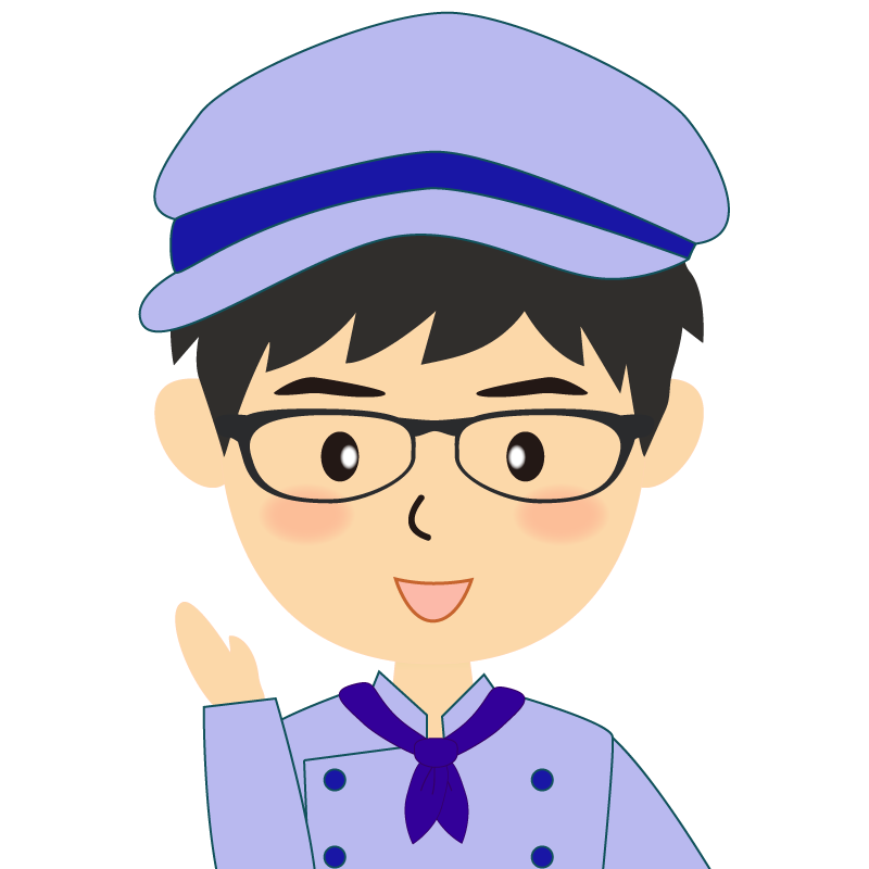 画像:飲食店の青い制服姿の男性イラスト 眼鏡 笑顔