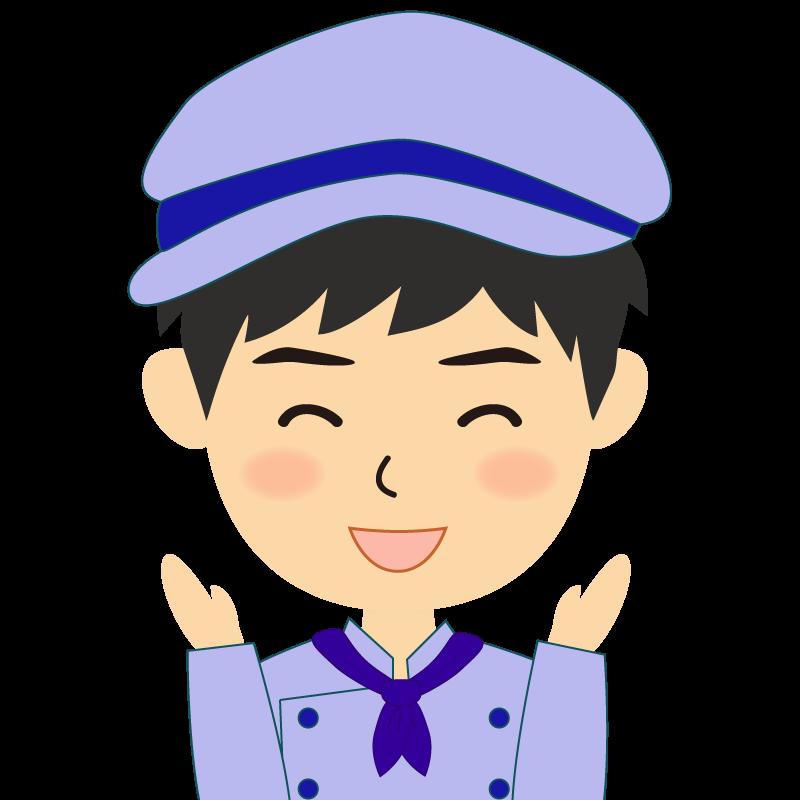 画像:飲食店の青い制服姿の男性イラスト 喜び
