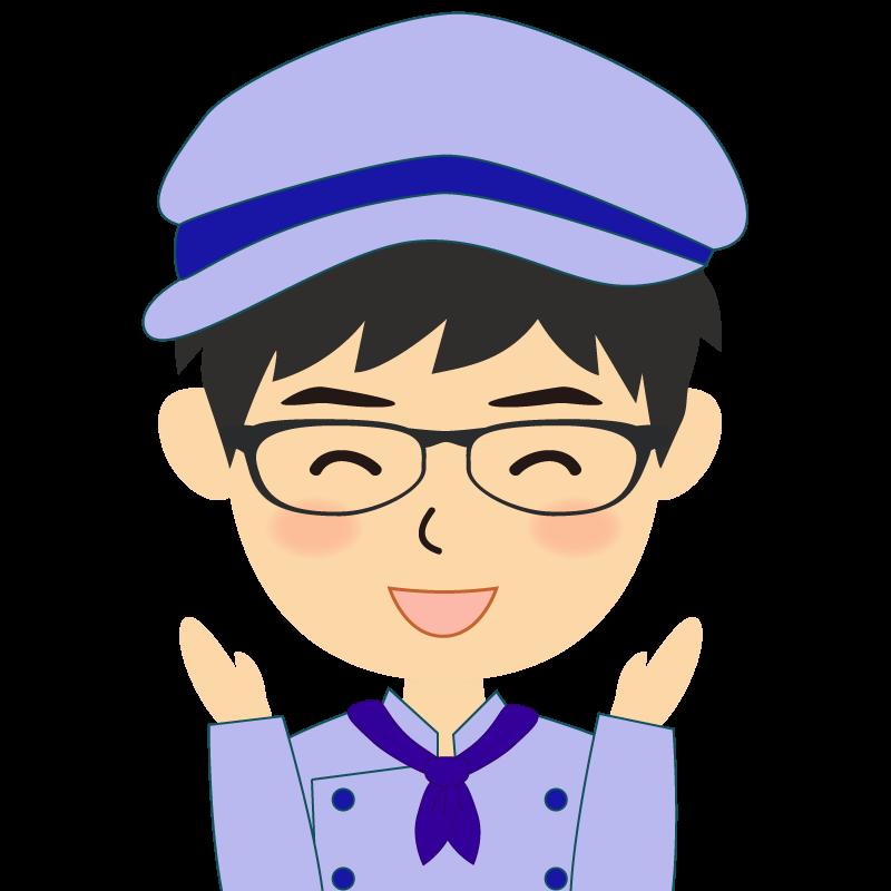 画像:飲食店の青い制服姿の男性イラスト 眼鏡 喜び