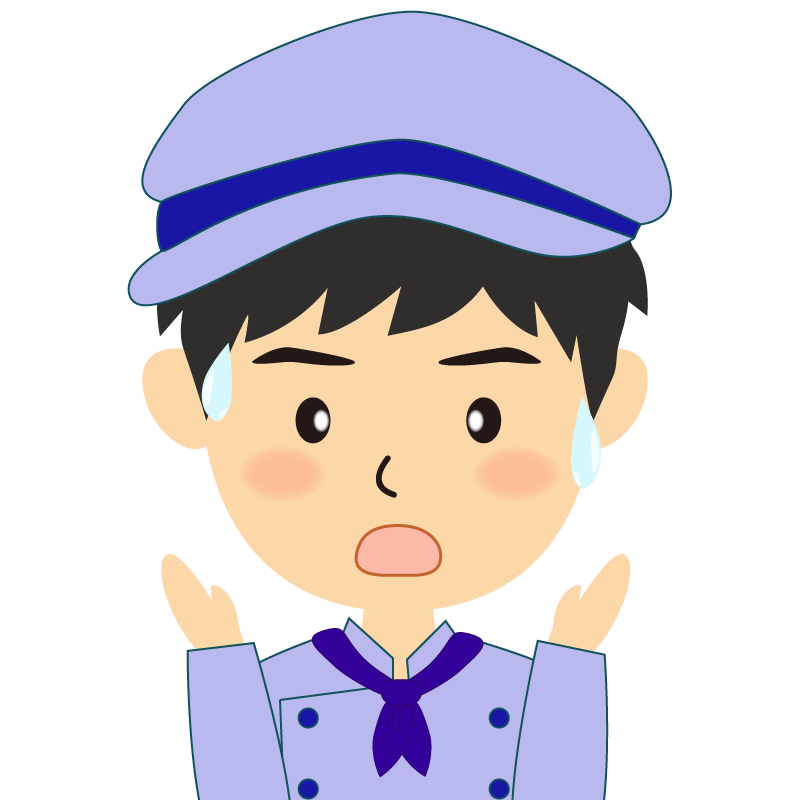 画像:飲食店の青い制服姿の男性イラスト 驚き