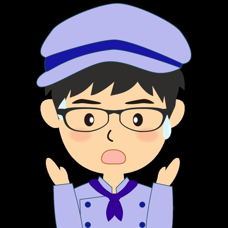 画像:飲食店の青い制服姿の男性イラスト 眼鏡 驚き