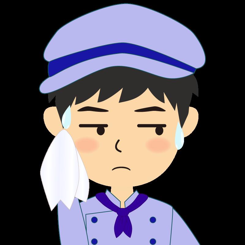 画像:飲食店の青い制服姿の男性イラスト 汗