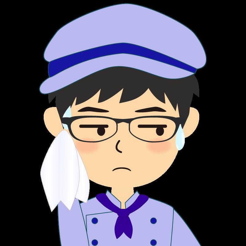 画像:飲食店の青い制服姿の男性イラスト 眼鏡 汗