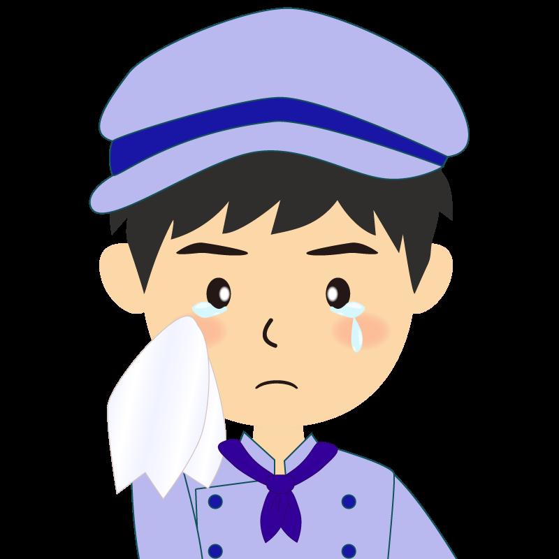 画像:飲食店の青い制服姿の男性イラスト 涙