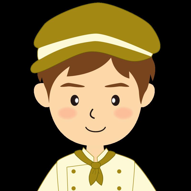 画像:飲食店の黄土色の制服姿の男性イラスト