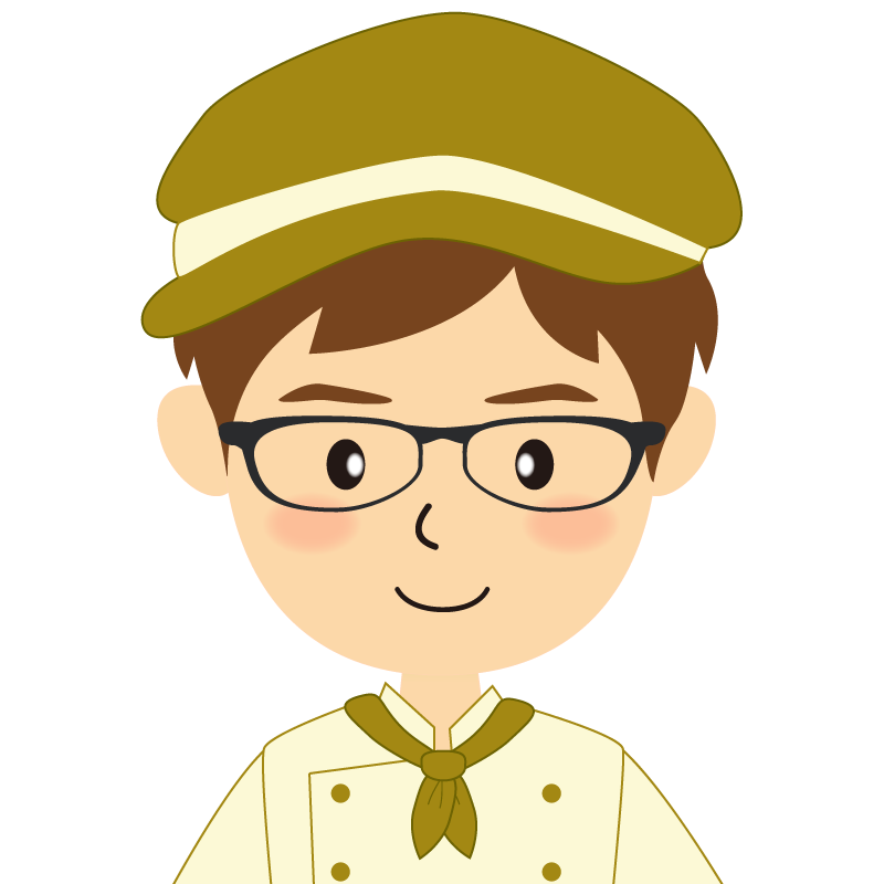 画像:飲食店の黄土色の制服姿の男性イラスト 眼鏡