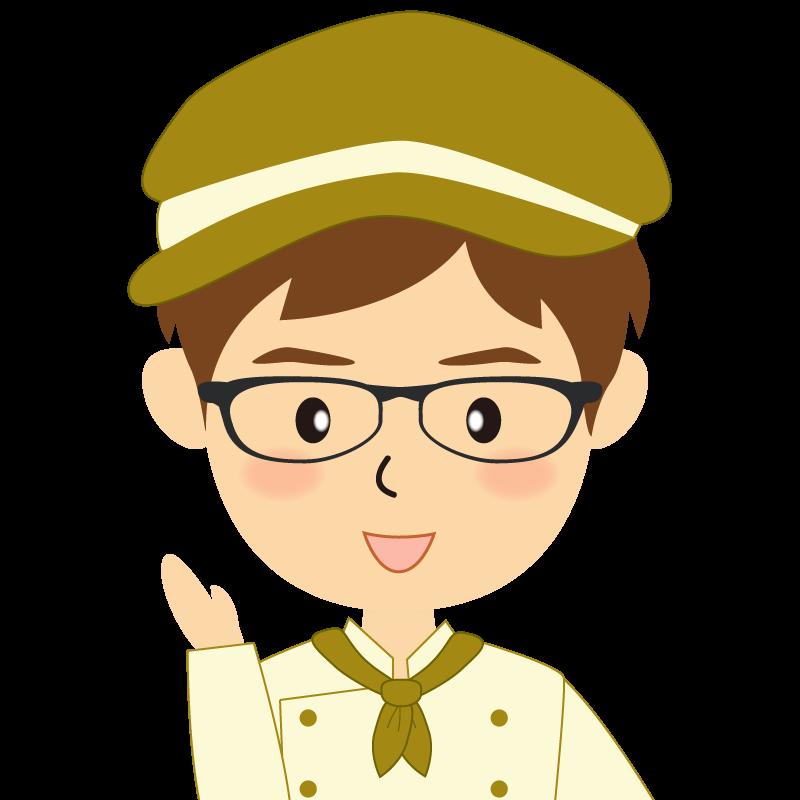 画像:飲食店の黄土色の制服姿の男性イラスト 眼鏡 笑顔