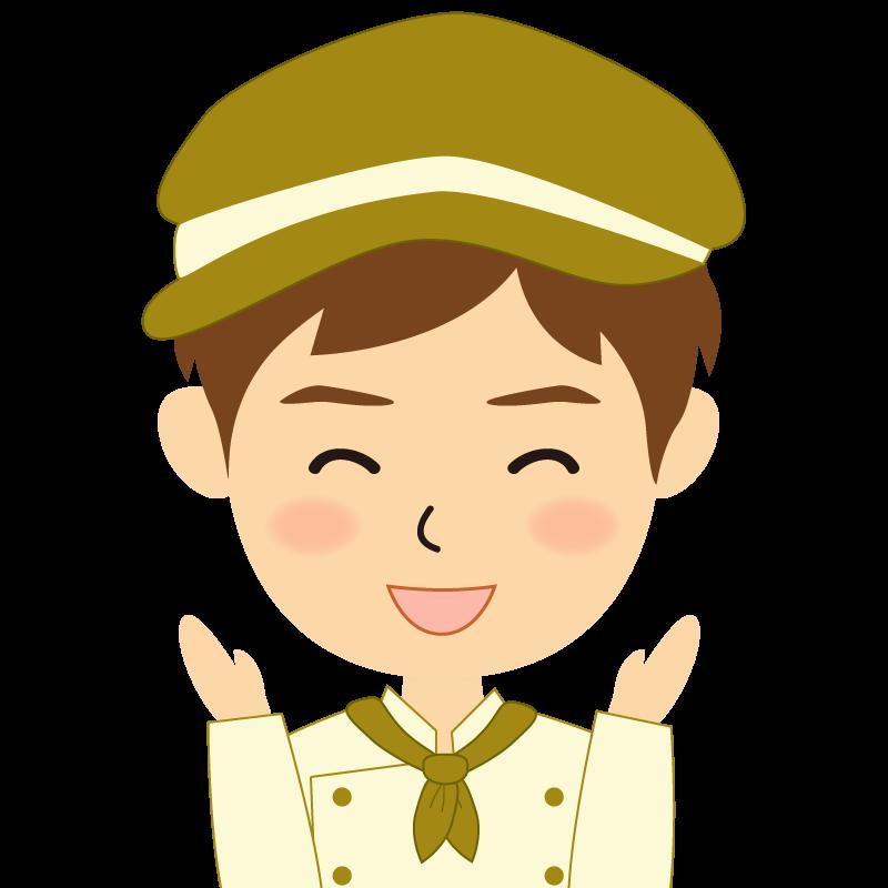 画像:飲食店の黄土色の制服姿の男性イラスト 喜び