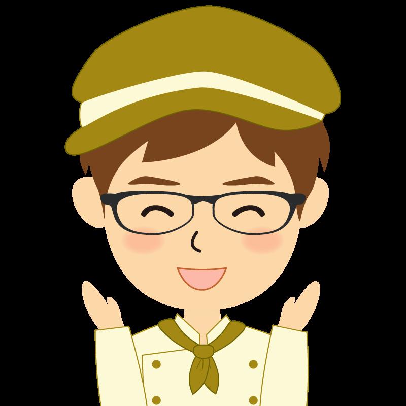 画像:飲食店の黄土色の制服姿の男性イラスト 眼鏡 喜び