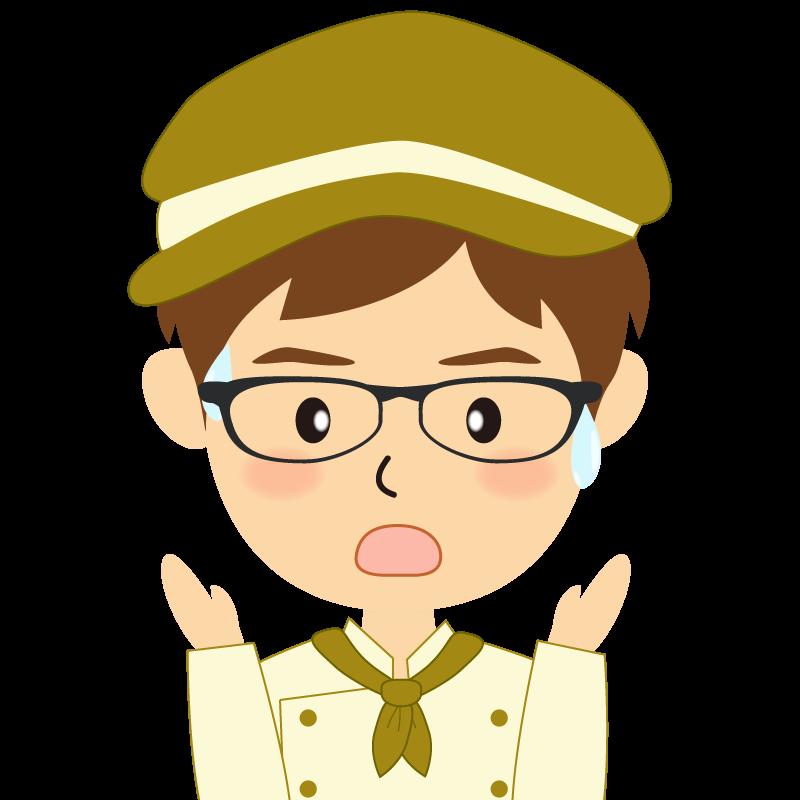 画像:飲食店の黄土色の制服姿の男性イラスト 眼鏡 驚き