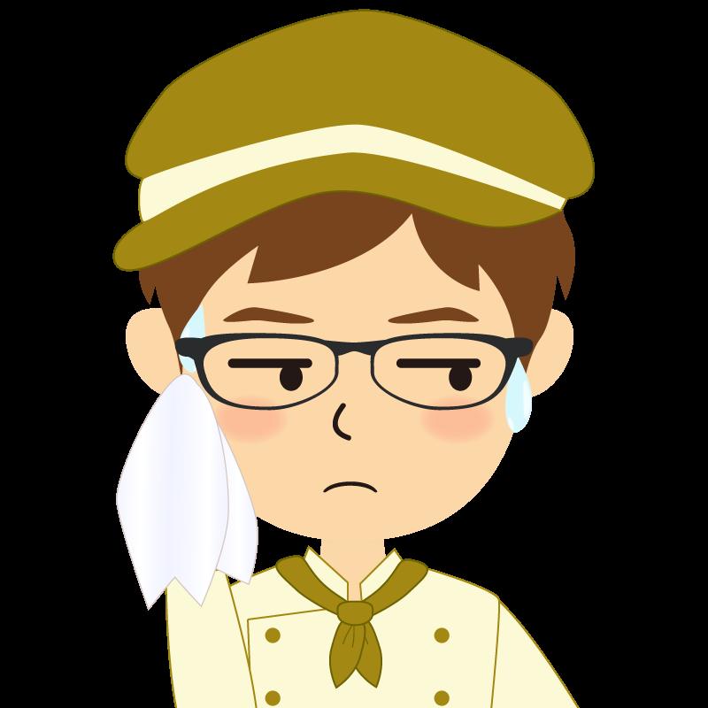 画像:飲食店の黄土色の制服姿の男性イラスト 眼鏡 汗
