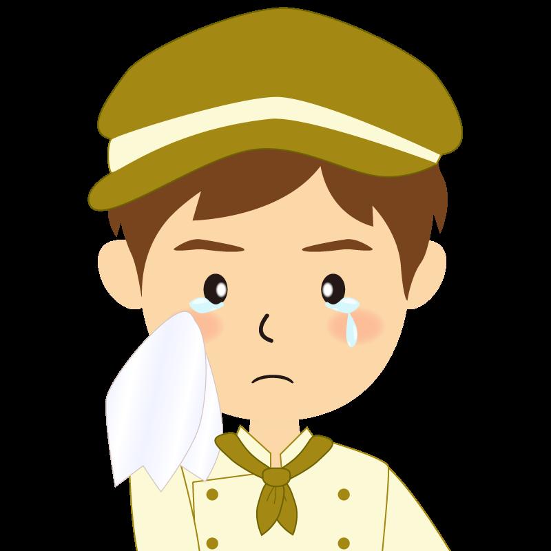 画像:飲食店の黄土色の制服姿の男性イラスト 涙
