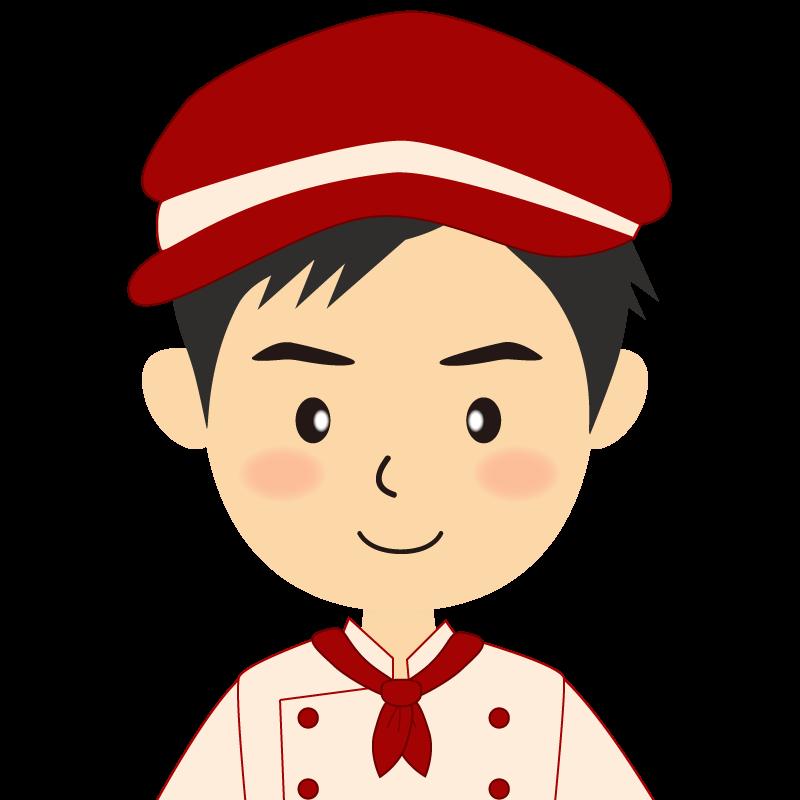 画像:飲食店の赤色の制服姿の男性イラスト