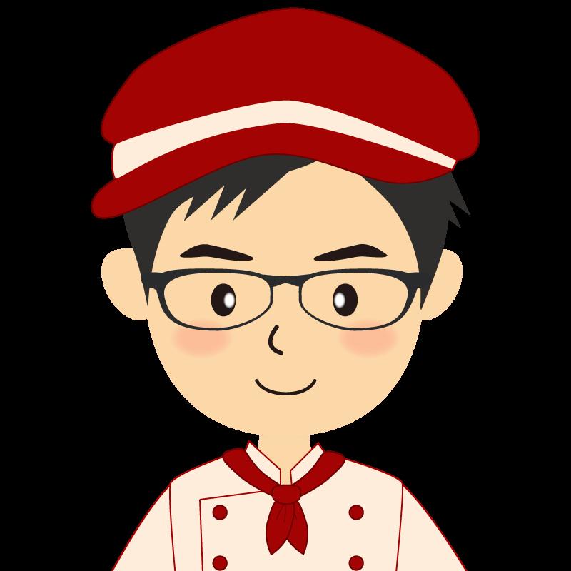 画像:飲食店の赤色の制服姿の男性イラスト 眼鏡