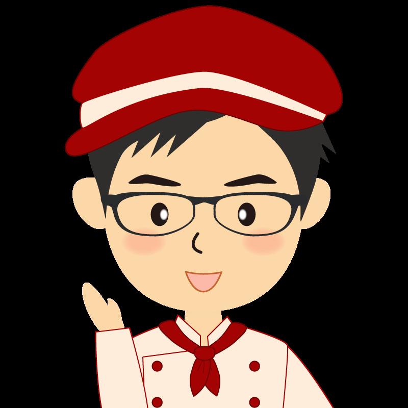 画像:飲食店の赤色の制服姿の男性イラスト 眼鏡 笑顔