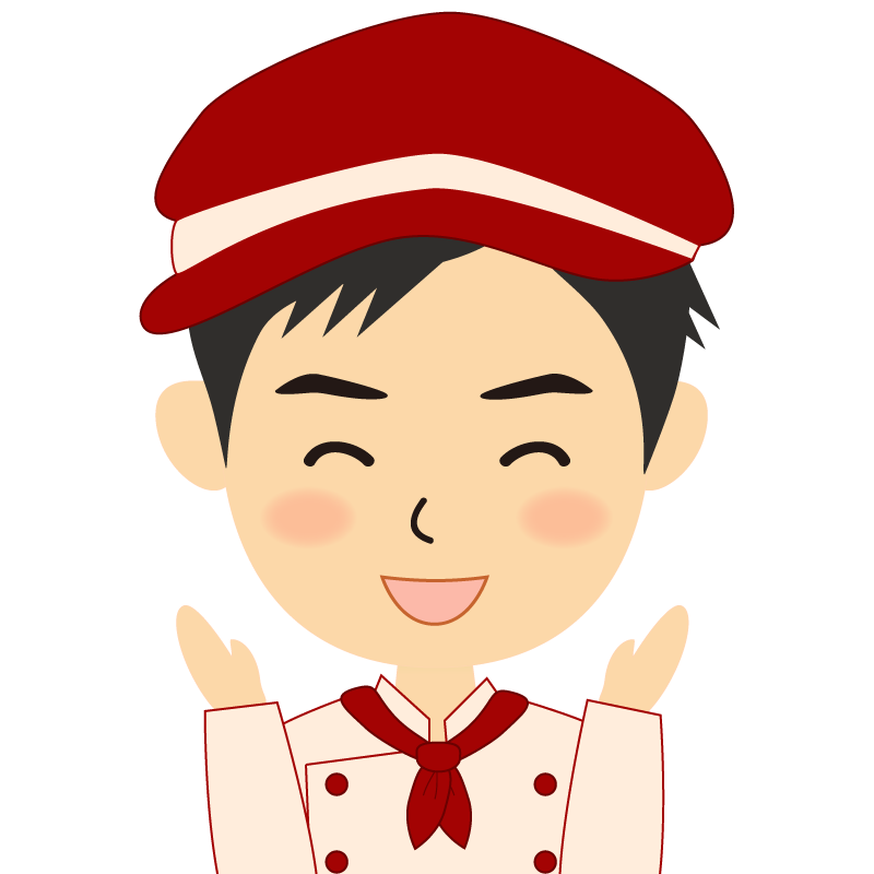 画像:飲食店の赤色の制服姿の男性イラスト 喜び