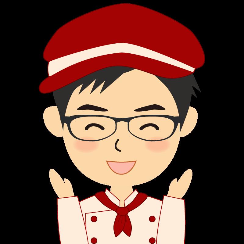 画像:飲食店の赤色の制服姿の男性イラスト 眼鏡 喜び