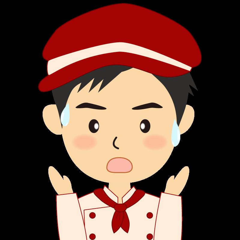 画像:飲食店の赤色の制服姿の男性イラスト 驚き