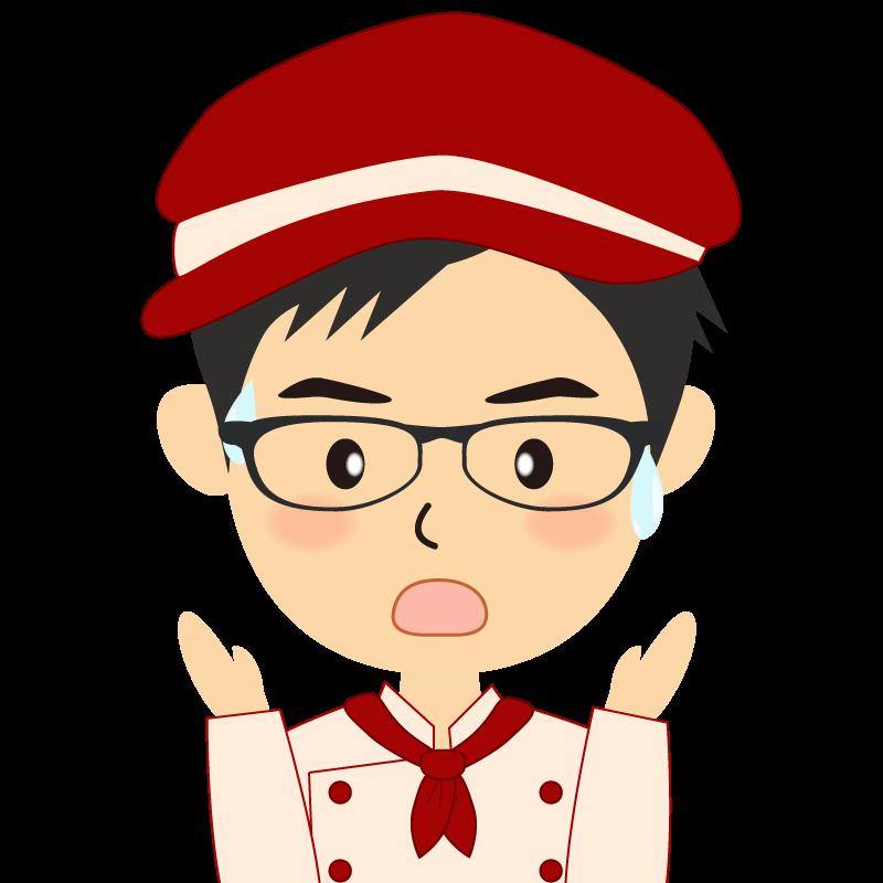 画像:飲食店の赤色の制服姿の男性イラスト 眼鏡 驚き