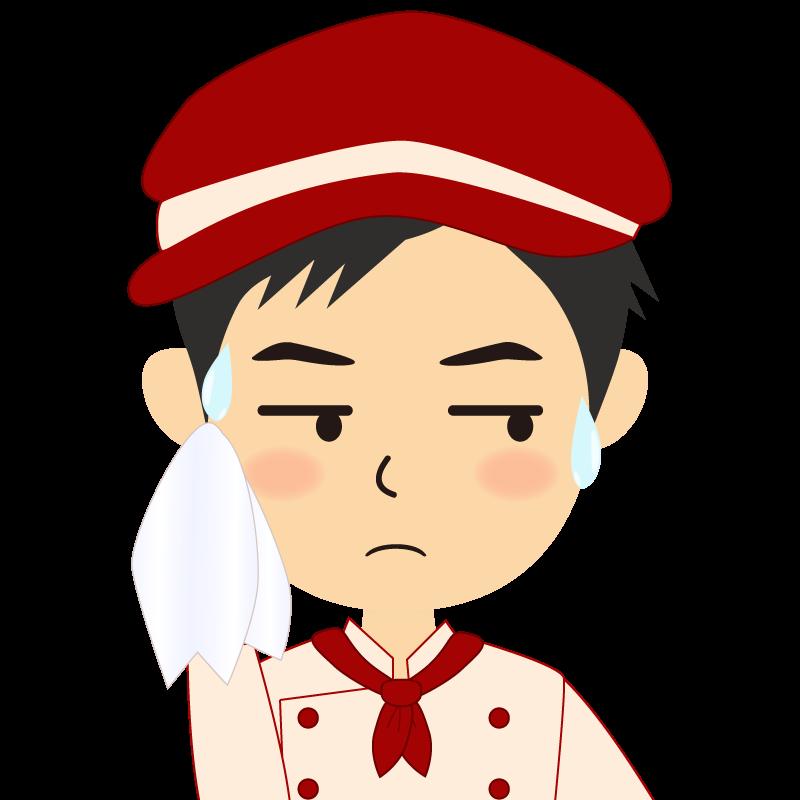 画像:飲食店の赤色の制服姿の男性イラスト 汗