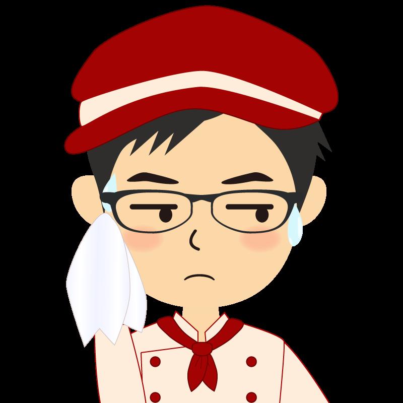 画像:飲食店の赤色の制服姿の男性イラスト 眼鏡 汗
