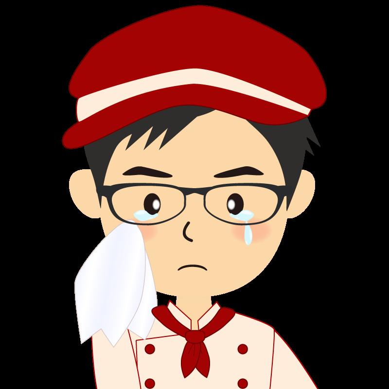画像:飲食店の赤色の制服姿の男性イラスト 眼鏡 涙