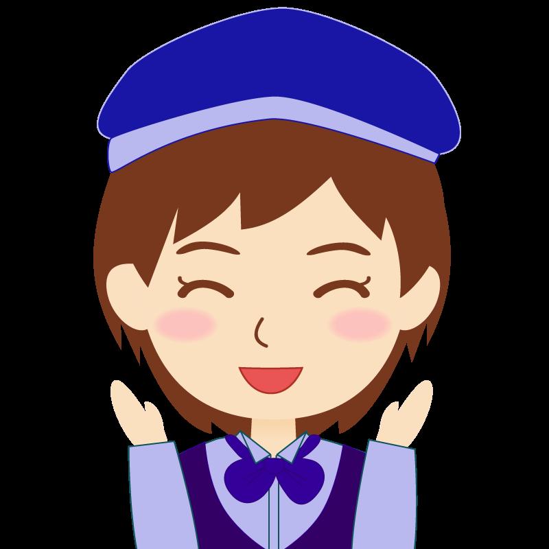 画像:飲食店店員風の青い制服姿の女性イラスト 喜び