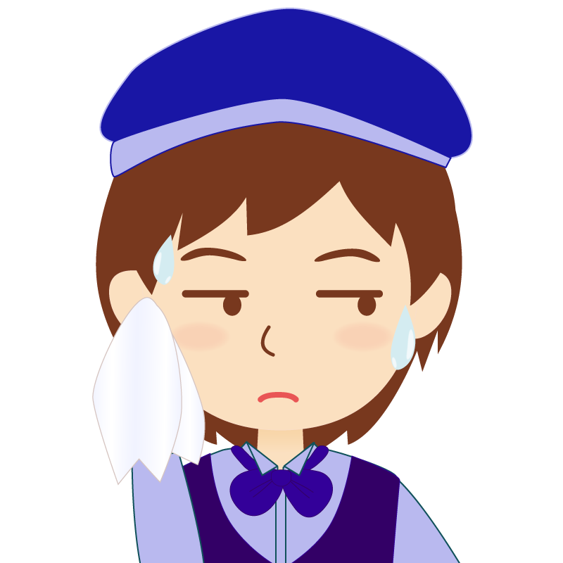 画像:飲食店店員風の青い制服姿の女性イラスト 汗