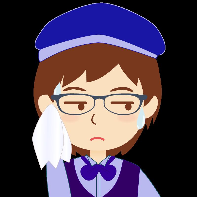 画像:飲食店店員風の青い制服姿の女性イラスト 眼鏡 汗