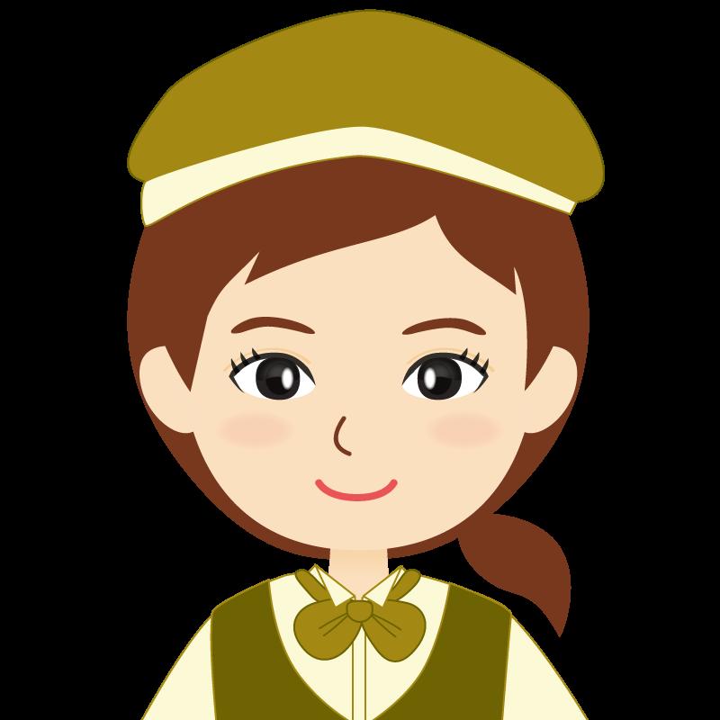 画像:飲食店店員風の黄土色の制服姿の女性イラスト