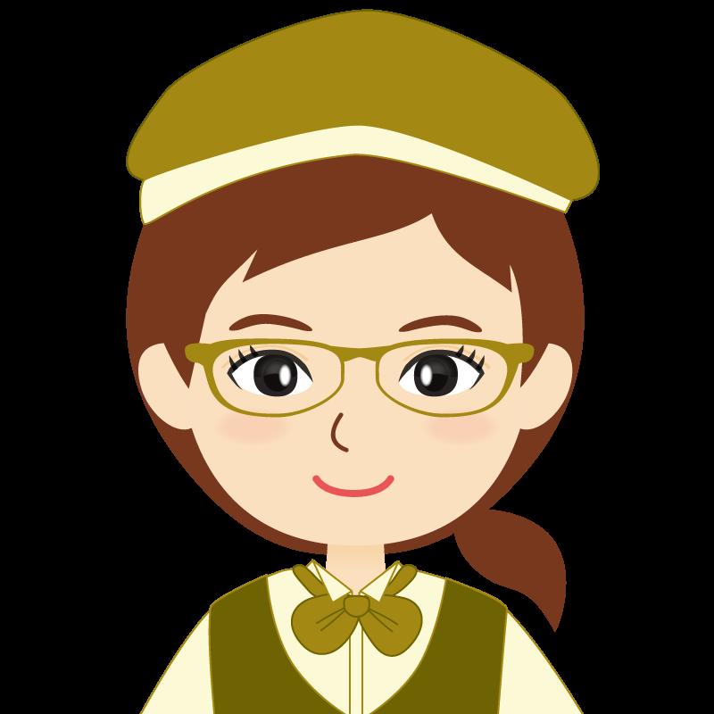 画像:飲食店店員風の黄土色の制服姿の女性イラスト 眼鏡