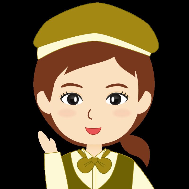 画像:飲食店店員風の黄土色の制服姿の女性イラスト 笑顔