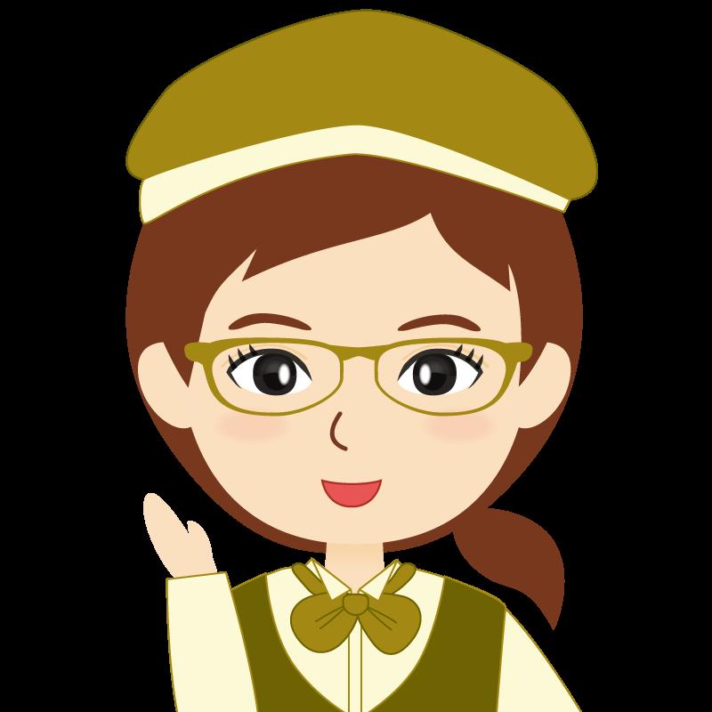 画像:飲食店店員風の黄土色の制服姿の女性イラスト 眼鏡 笑顔