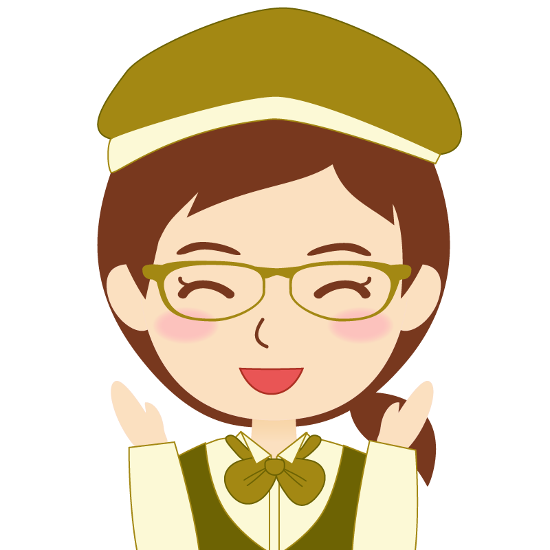 画像:飲食店店員風の黄土色の制服姿の女性イラスト 眼鏡 喜び