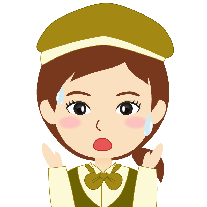画像:飲食店店員風の黄土色の制服姿の女性イラスト 驚き
