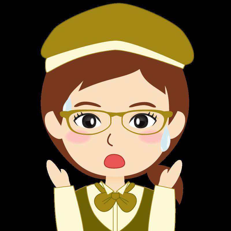 画像:飲食店店員風の黄土色の制服姿の女性イラスト 眼鏡 驚き