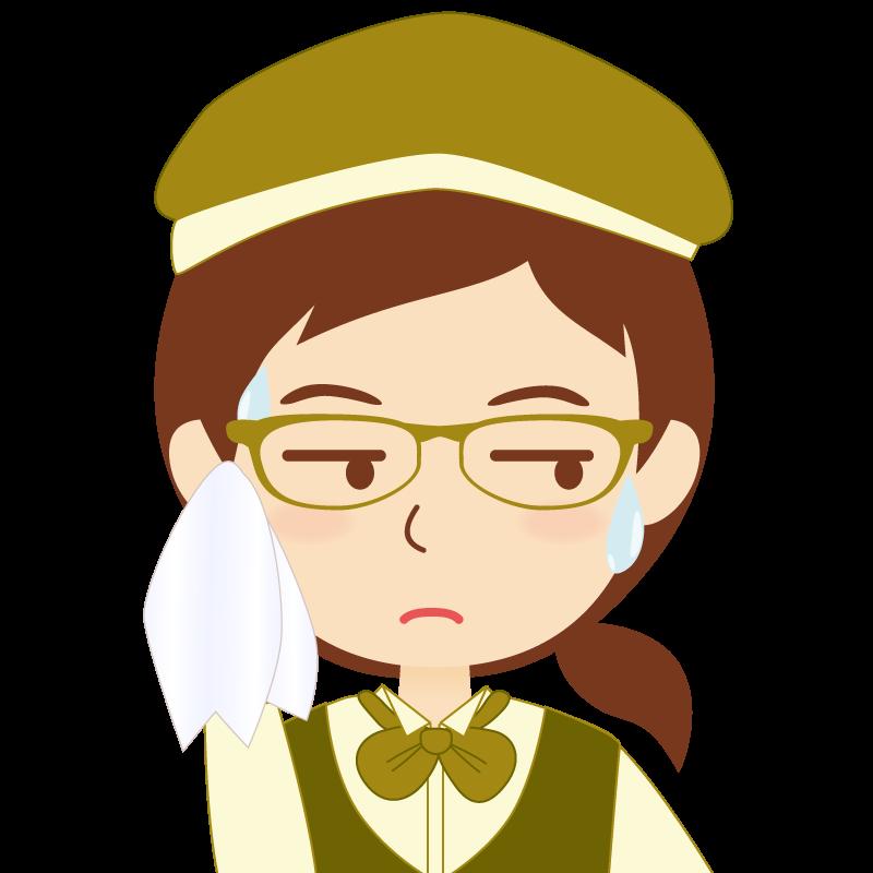画像:飲食店店員風の黄土色の制服姿の女性イラスト 眼鏡 汗