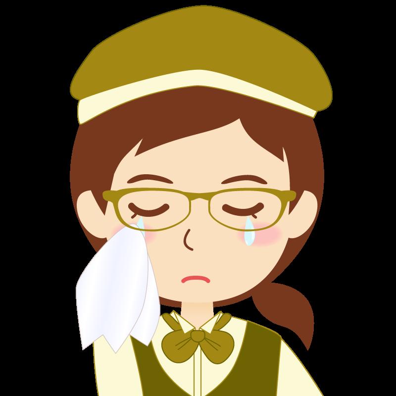 画像:飲食店店員風の黄土色の制服姿の女性イラスト 眼鏡 涙
