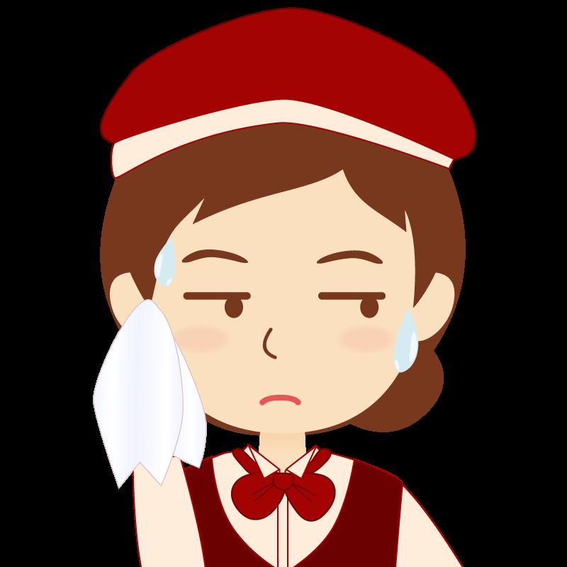 画像:飲食店店員風の赤色の制服姿の女性イラスト 汗