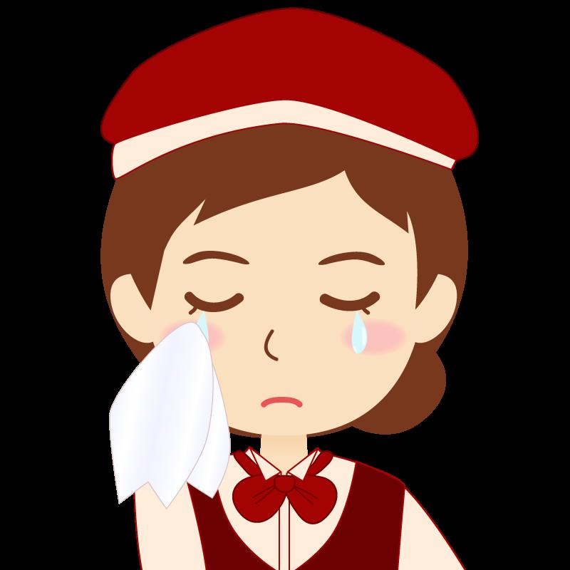 画像:飲食店店員風の赤色の制服姿の女性イラスト 涙