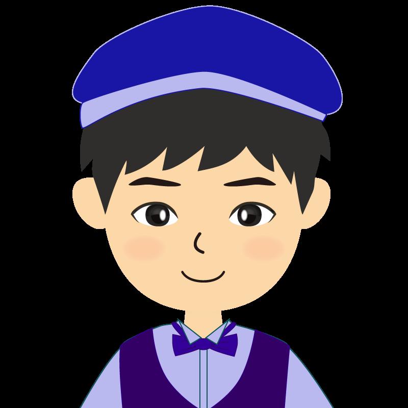 画像:飲食店店員風の青い制服姿の男性イラスト