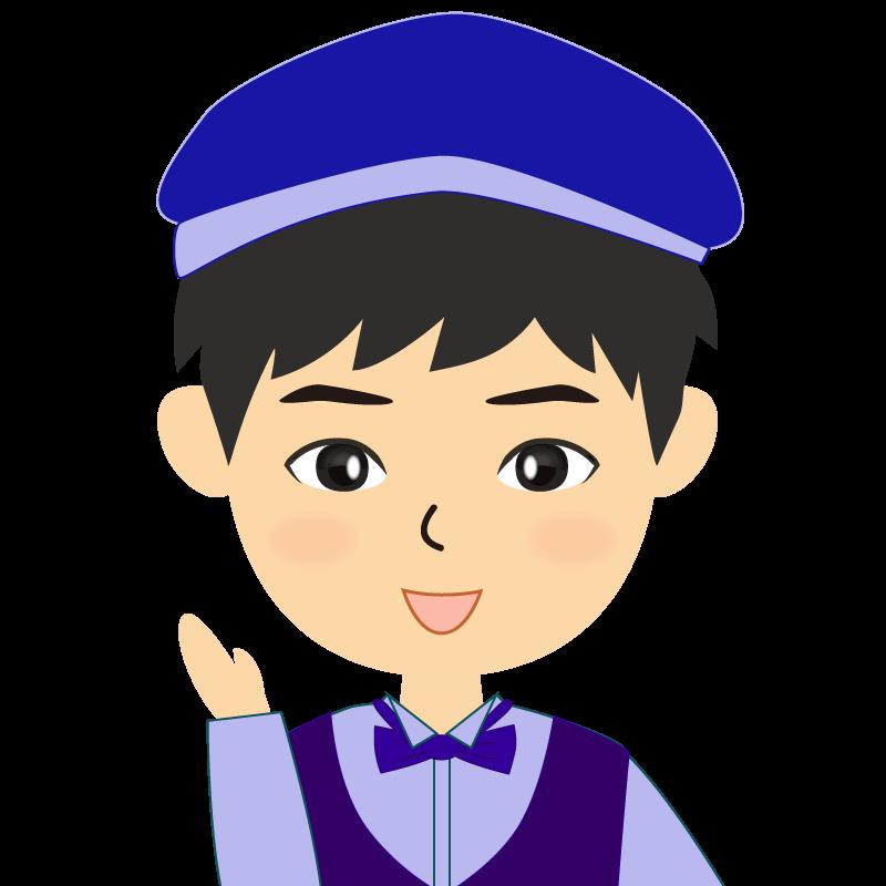 画像:飲食店店員風の青い制服姿の男性イラスト 笑顔