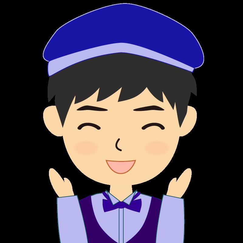 画像:飲食店店員風の青い制服姿の男性イラスト 喜び